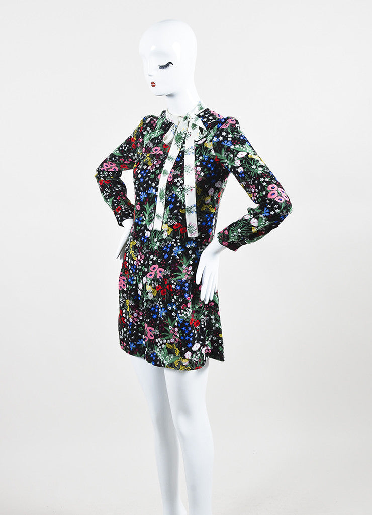 Valentino Black Multicolor Silk Floral Print Drop Waist Dress Sideview