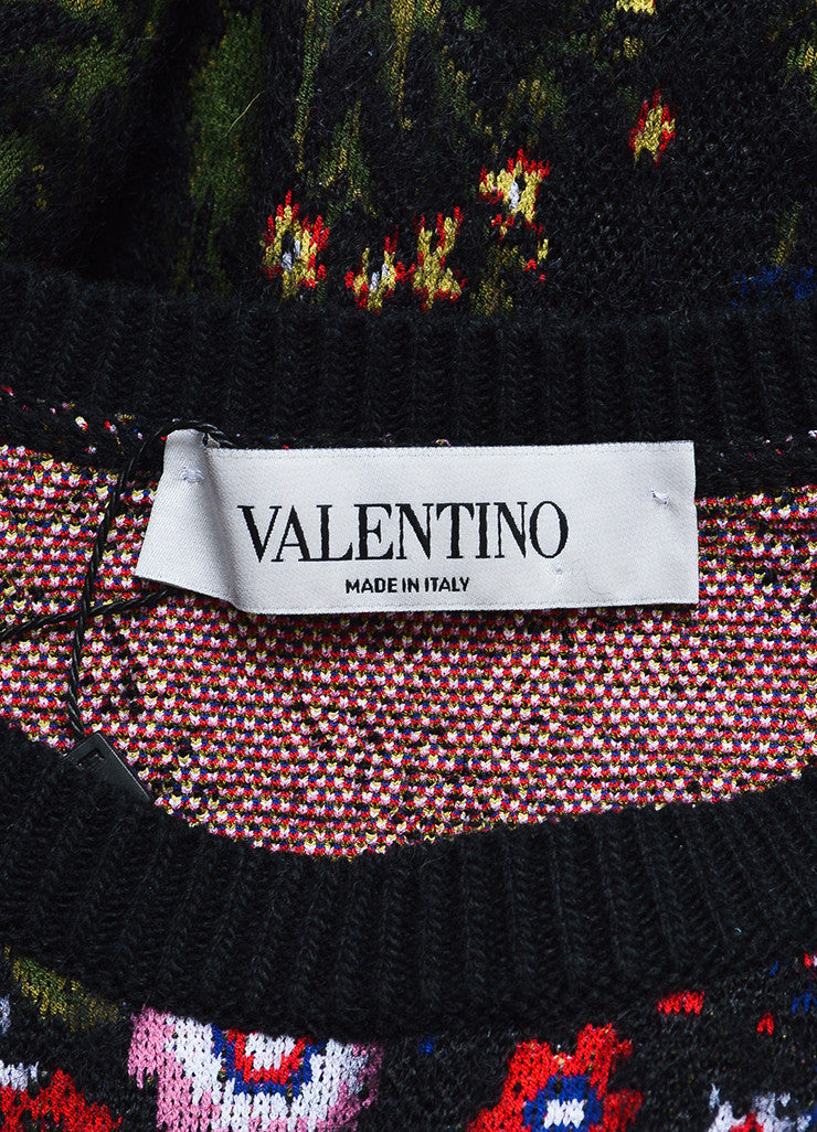 "Black and Multicolor Valentino Floral ""Primavera"" Pullover Sweater Brand"