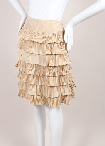 Valentino Tan Silk Tiered Pleated A-Line Skirt Sideview