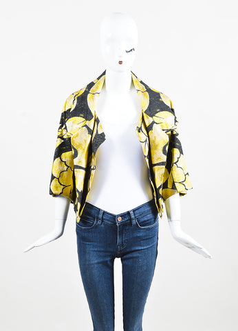 Black & Yellow Vera Wang Floral Print Brocade Cropped Jacket Front