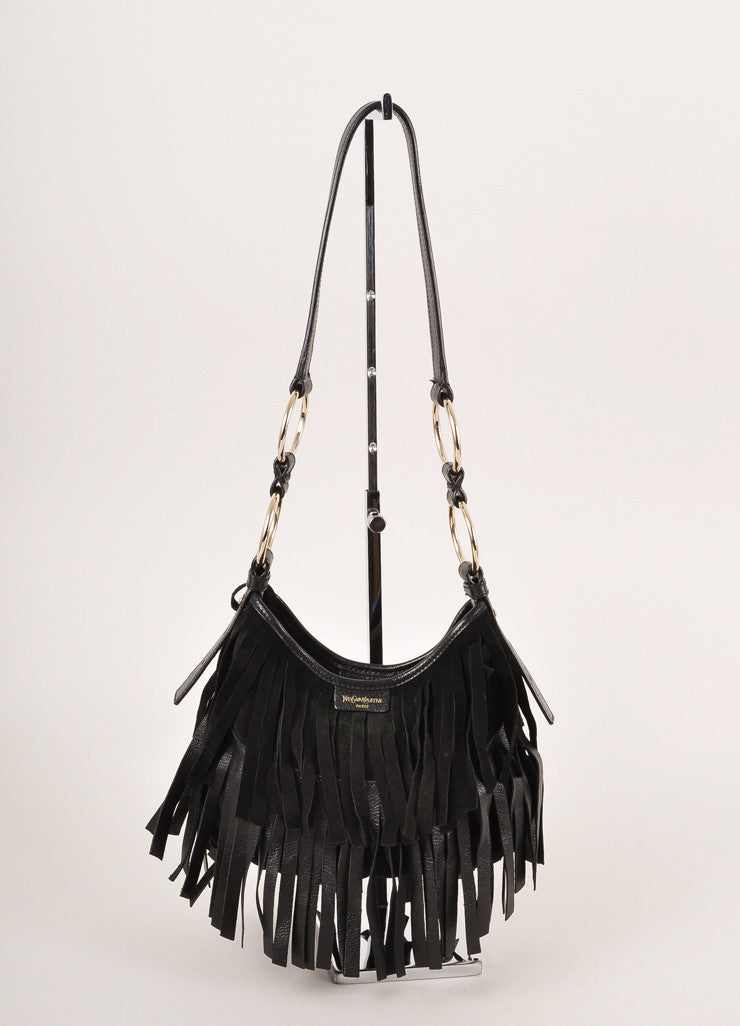 Yves Saint Laurent Black Suede Fringe Small Hobo Shoulder Bag Frontview
