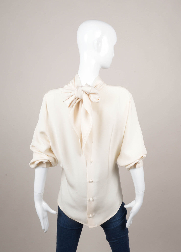 Cream Long Sleeve Neck Tie Button Up Blouse