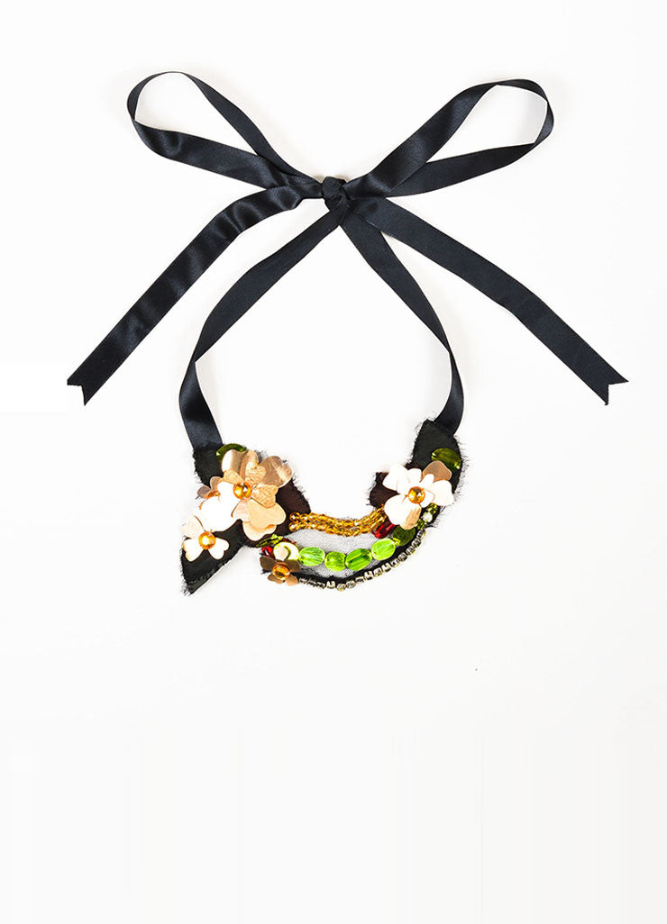 Lanvin Black, Metallic Gold Toned, and Multicolor Cut Out Flower Crystal Bib Tie Necklace Frontview