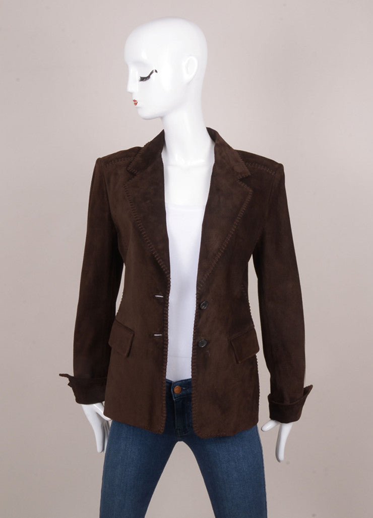 Brown Suede Leather Buttoned Jacket