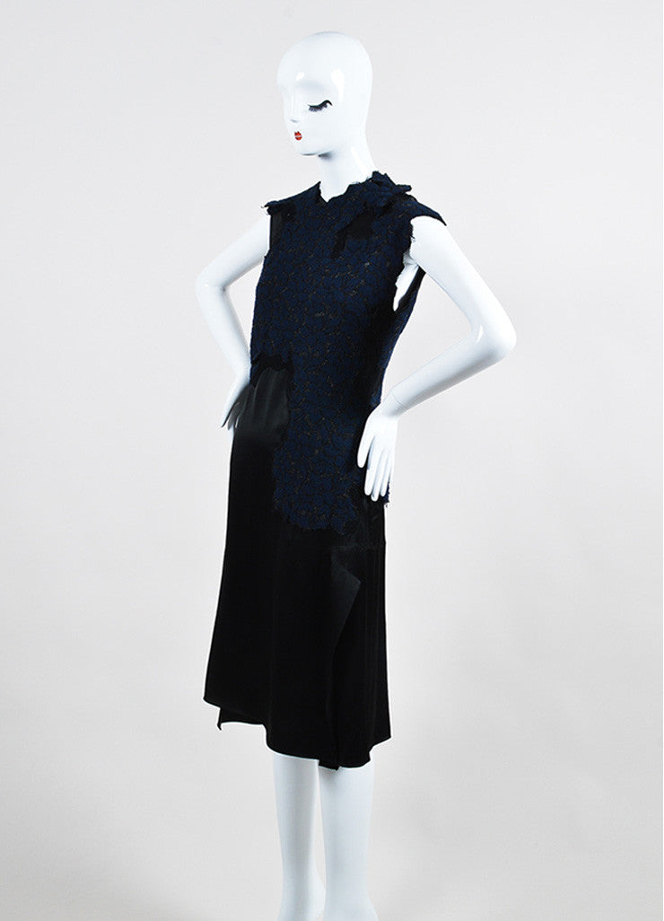 Navy and Black 3.1 Phillip Lim Sateen Lace Overlay Cap Sleeve Dress Sideview