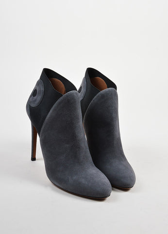 Grey and Black Alaia Suede Leather Swirl Booties Frontview