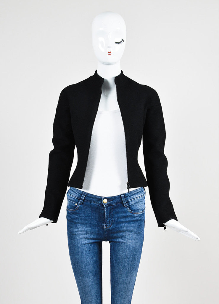 Black Alaia Wool Zip Front Structured Jacket Frontview