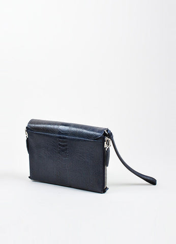 "Navy Blue Alexander Wang Ostrich Effect Leather ""Lydia"" Wristlet Clutch Bag Sideview"