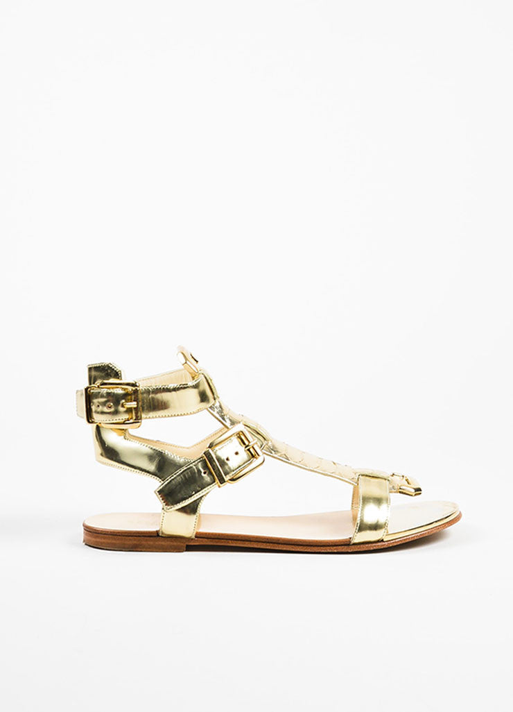 Balmain Gold Metallic Leather Python Buckle Flat Gladiator Sandals Sideview
