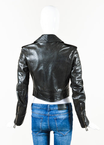 Belstaff Black Leather Zip Up Quilted Long Sleeve Cropped Moto Jacket Back