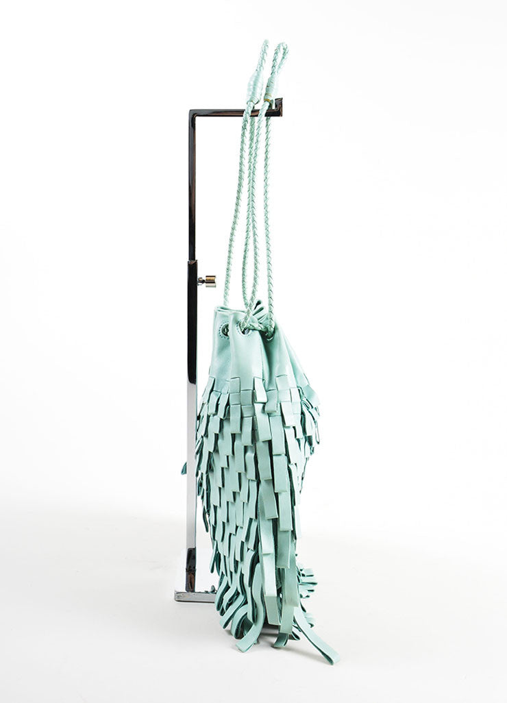Bottega Veneta Mint Green Leather Fringe Drawstring Pouch Bag Sideview