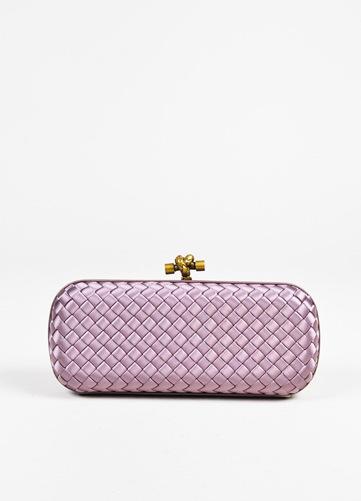 "Bottega Veneta Purple Woven Satin Leather Trim ""The Knot"" Clutch Bag Frontview"