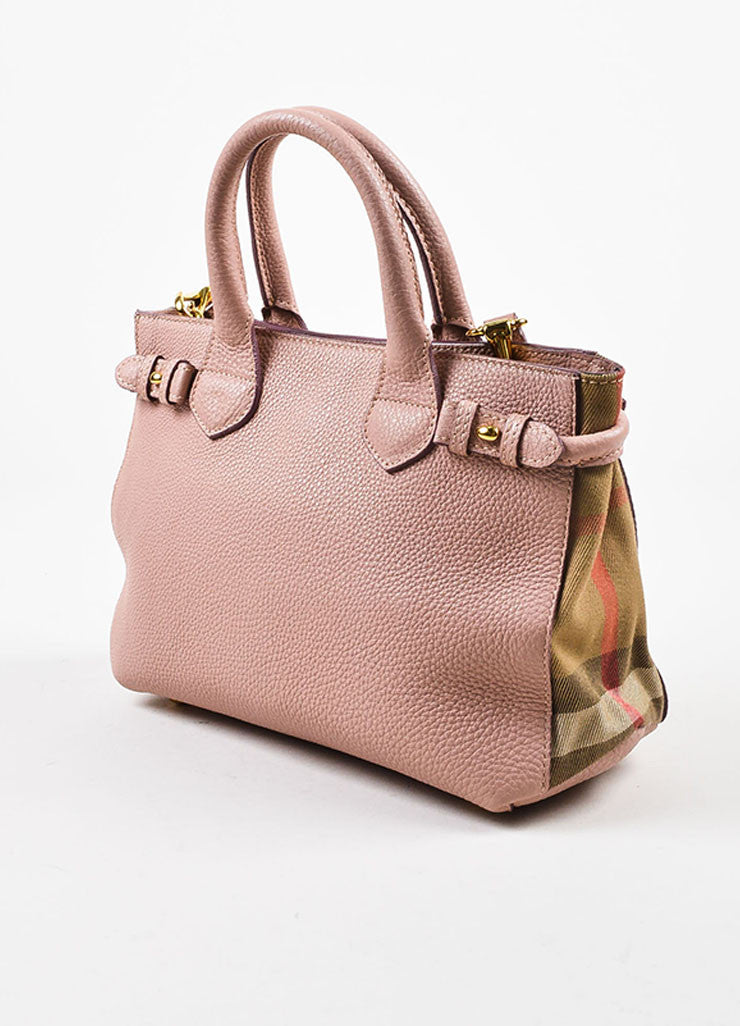 "Burberry Blush Pink Leather House Plaid Check ""Small Banner"" Satchel Bag Sideview"