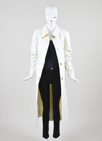 Celine Cream Poplin Full Length Flip Lock Long Sleeve Trench Coat  Frontview