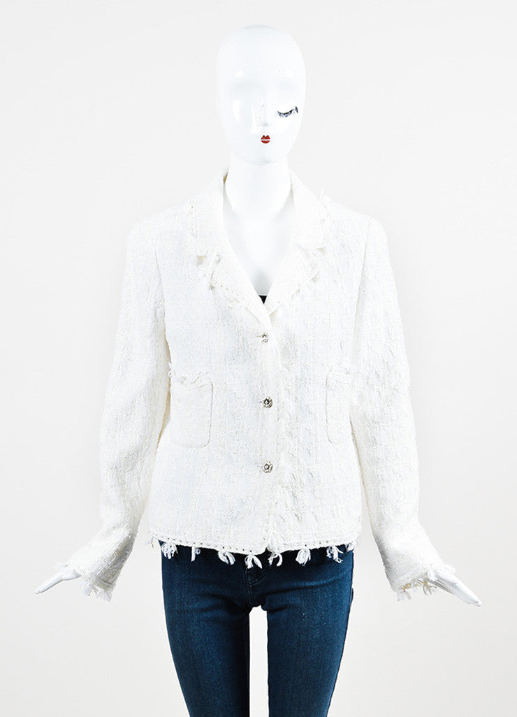 Chanel Cream Tweed Silver Toned Camellia Flower Button Jacket Frontview 2