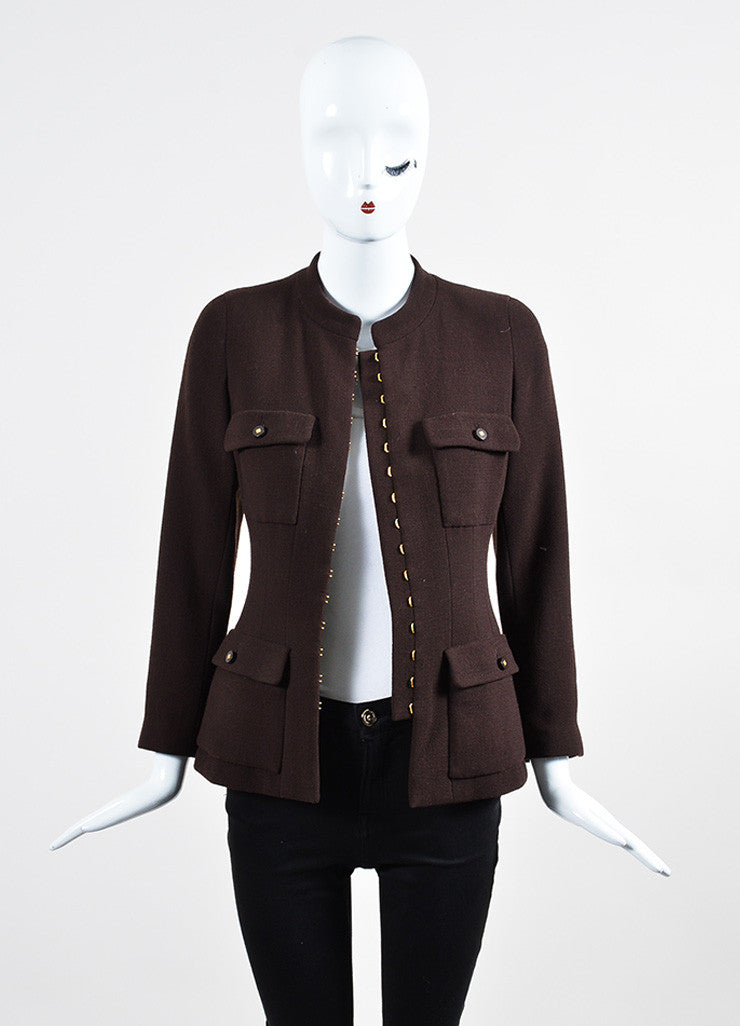 Brown Chanel Wool Crepe Utilitarian Jacket  Frontview