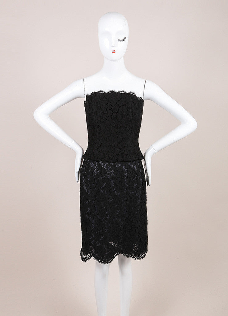 Chanel Black Lace Strapless Corset Top and Pencil Skirt Set Frontview