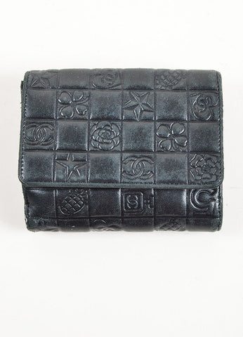"Chanel Black Leather Quilted Precious Symbols ""Chocolate Bar"" Bifold Wallet Backview"