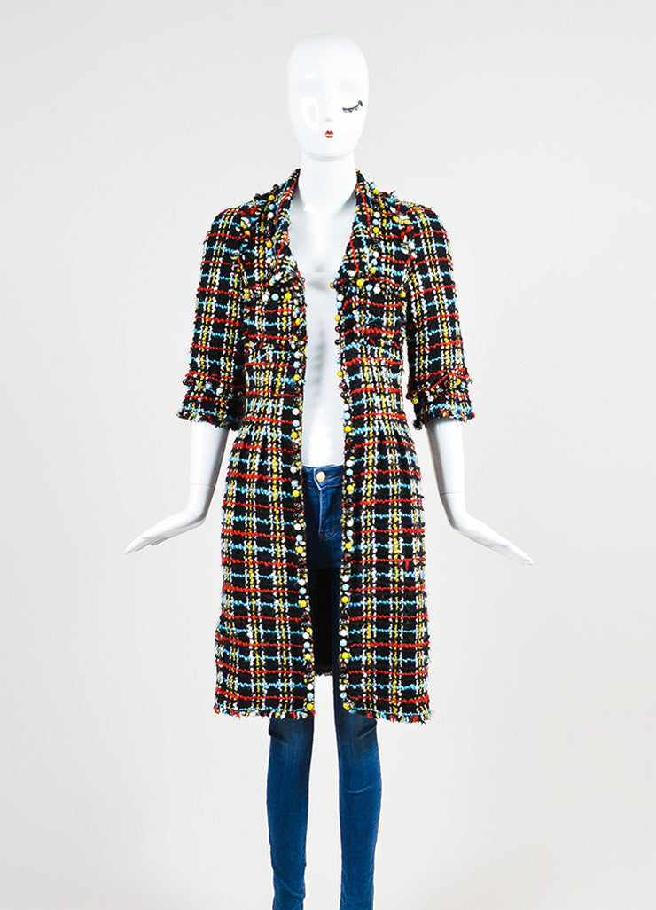 Multicolor Chanel Wool and Silk Blend Tweed Frayed Trim Jacket Frontview