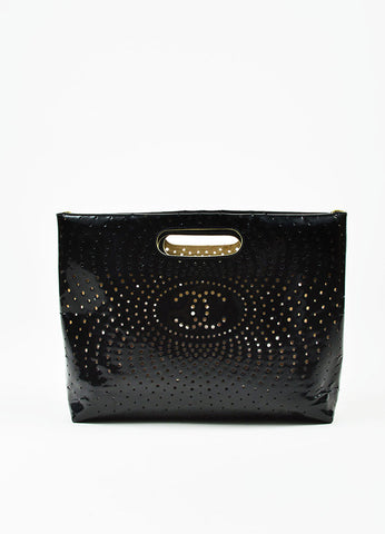 Black Chanel Perforated Patent Leather CC Logo Clutch  Front