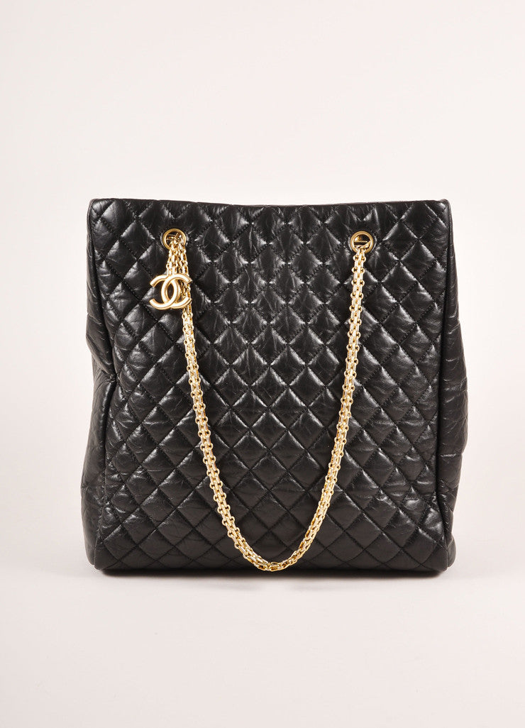 "Chanel Black Quilted Aged Calfskin ""CC"" Chain Shoulder Bag Frontview"