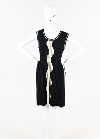 Chanel Black White Wool Wave Patterned & Pleated Dress Front