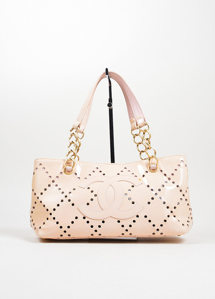 Nude Blush Chanel Patent Leather Perforated 'CC' Chain Tote Bag Frontview
