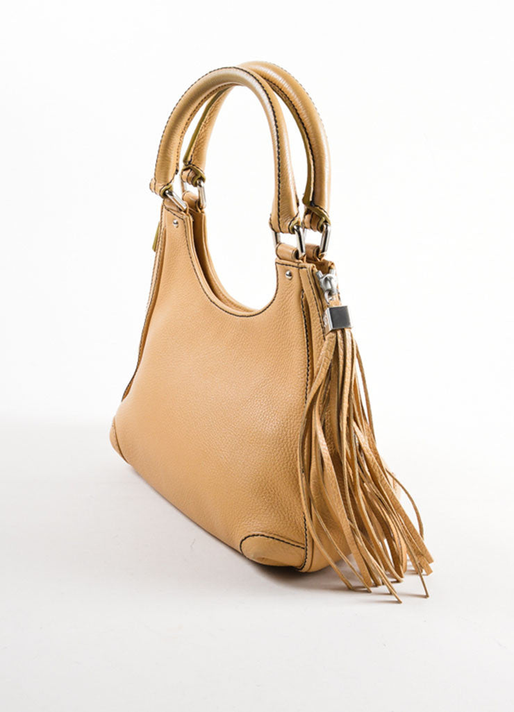 "Chanel Tan Grained Leather ""CC"" and Tassel Side Zip Medium Tote Bag Sideview"