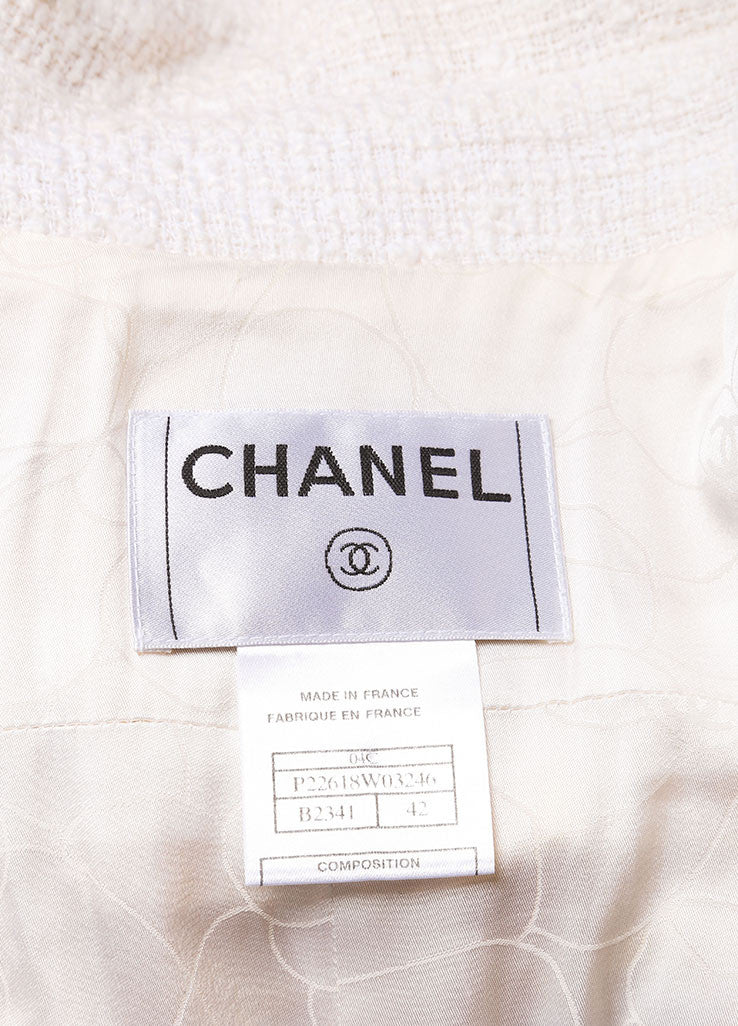 Chanel Yellow and White Woven Tweed Plaid Print Fringe Trim Long Sleeve Coat Brand
