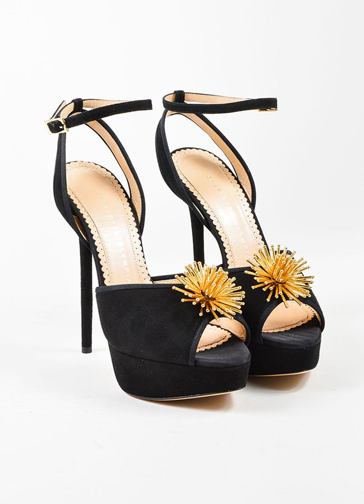 "Black and Gold Suede Charlotte Olympia ""Orbital Pomeline"" Sandals Frontview"