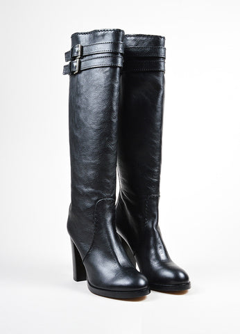 Black Chloe Leather Knee High Heeled Harness Boots Frontview