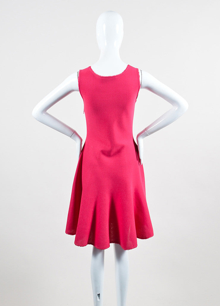 Pink Christian Dior Silk and Cotton Knit Sleeveless Fit and Flare Dress Backview