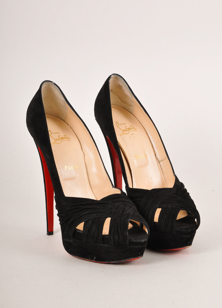 "Christian Louboutin Black Suede Leather ""Aborina 150"" Platform Pumps Frontview"