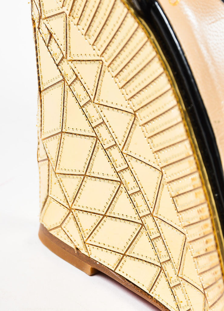 "Christian Louboutin Black Patent Leather Gold Mirror ""Cotton Club"" Wedges Detail 2"