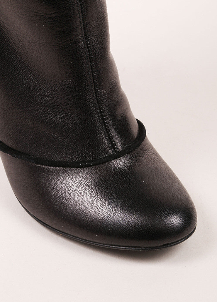 Claudia Ciuti Black Leather Buttoned Flap Knee High Heeled Boots Detail