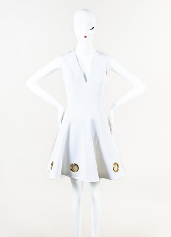 Cushnie et Ochs White Knit Grommet Detailed Fit and Flare Dress Front