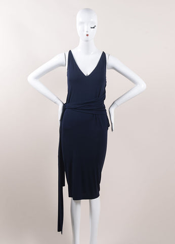 Donna Karan Navy Blue Jersey Knit Belted Sleeveless Slip Dress Frontview