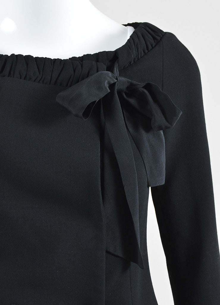 Black Fendi Crepe Cropped Sleeve Boat Neck Tie Collar Wrap Tailored Top Detail
