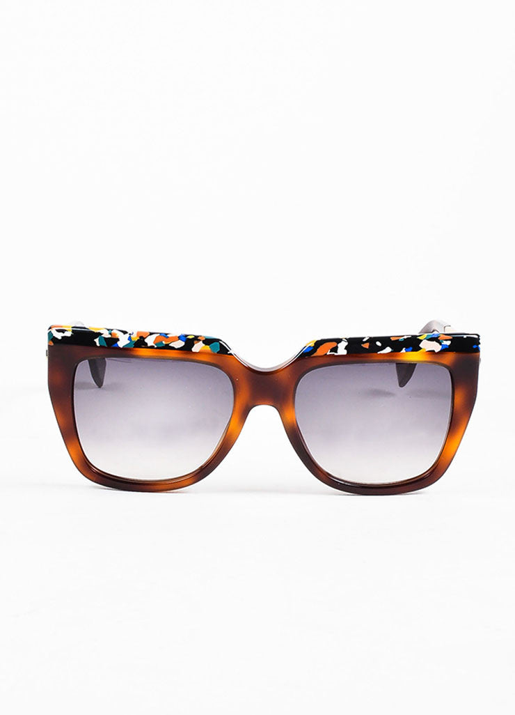 Fendi Brown Tortoise Shell Confetti Design Square Frame Sunglasses Frontview