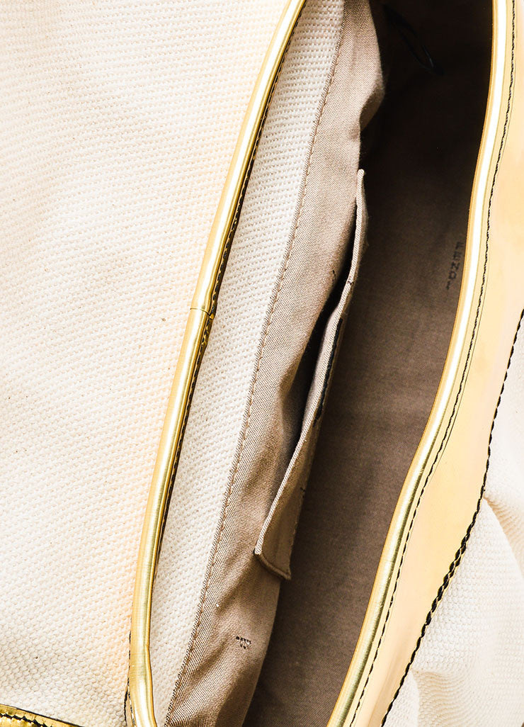 "Cream and Gold Fendi Metallic Leather and Canvas Oversized Buckle ""B"" Bag Interior"