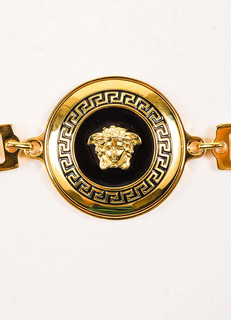 "Gianni Versace ""Vanitas"" Gold Toned Medusa Head and Greek Key Chain Belt Detail"
