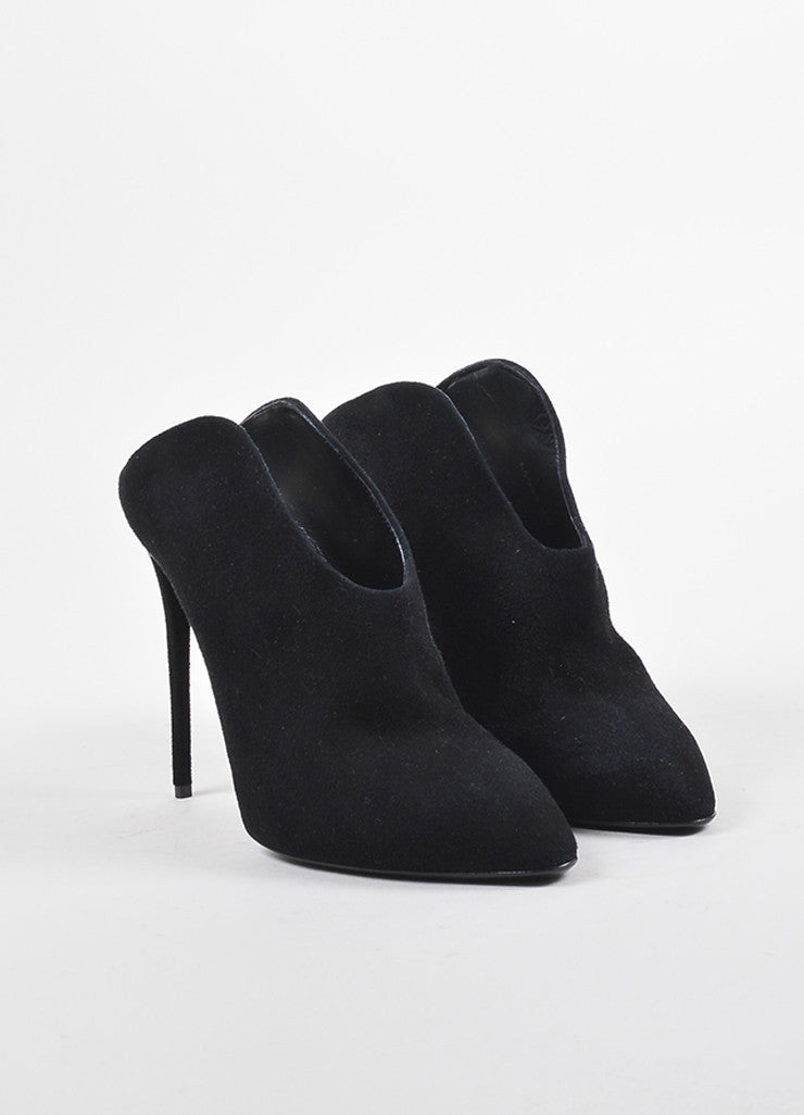 Giuseppe Zanotti Black Suede Leather Heeled Curved Mule Booties  Frontview