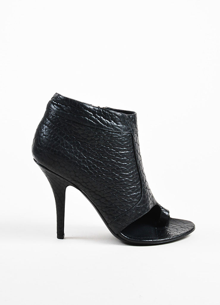 Givenchy Black Pebbled Leather Open Toe Thong Booties Sideview