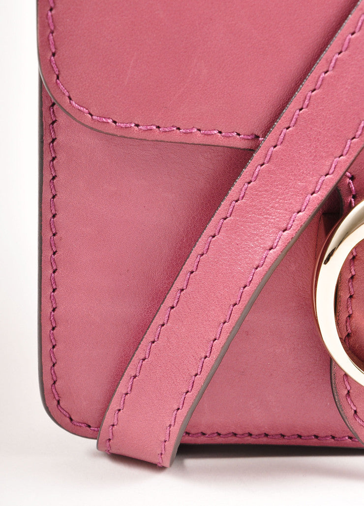 Gucci Pink 'GG' Logo Clasp Leather Crossbody Flap Bag Detail 1