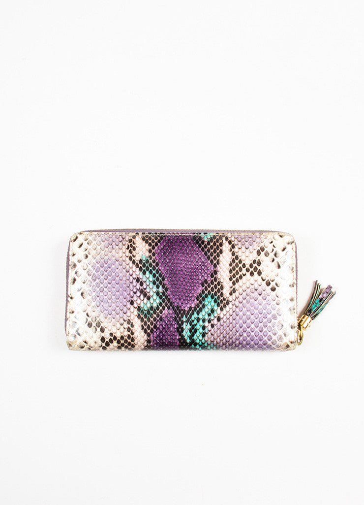 "Gucci Cream, Purple, and Green Python Snakeskin Zip Around 'GG' ""Soho"" Wallet Backview"