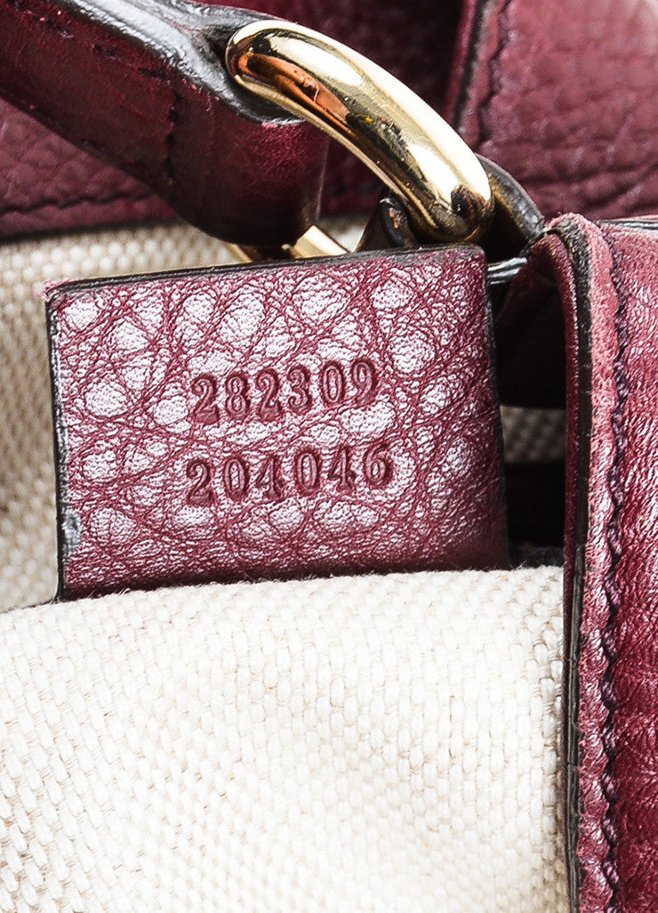 "Maroon Gucci Leather Embossed 'GG' Tassel ""Soho Working"" Tote Bag Serial"