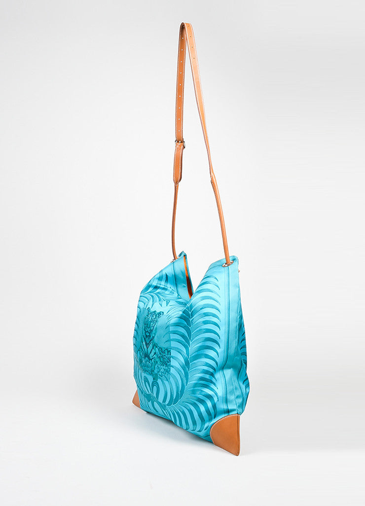 "Turquoise and Brown Hermes Leather Trim ""Silk City Tiger Royal"" Bag Sideview"