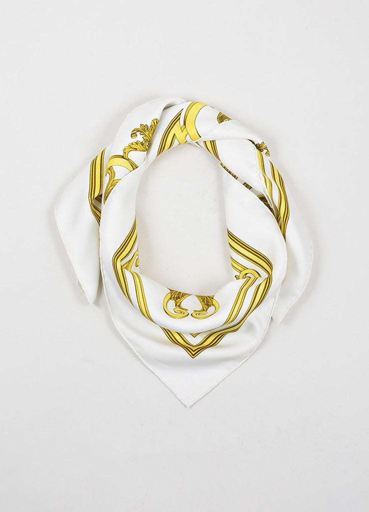 "Hermes Gold and Cream Silk ""Les Tuileries"" Print Square Scarf Frontview"