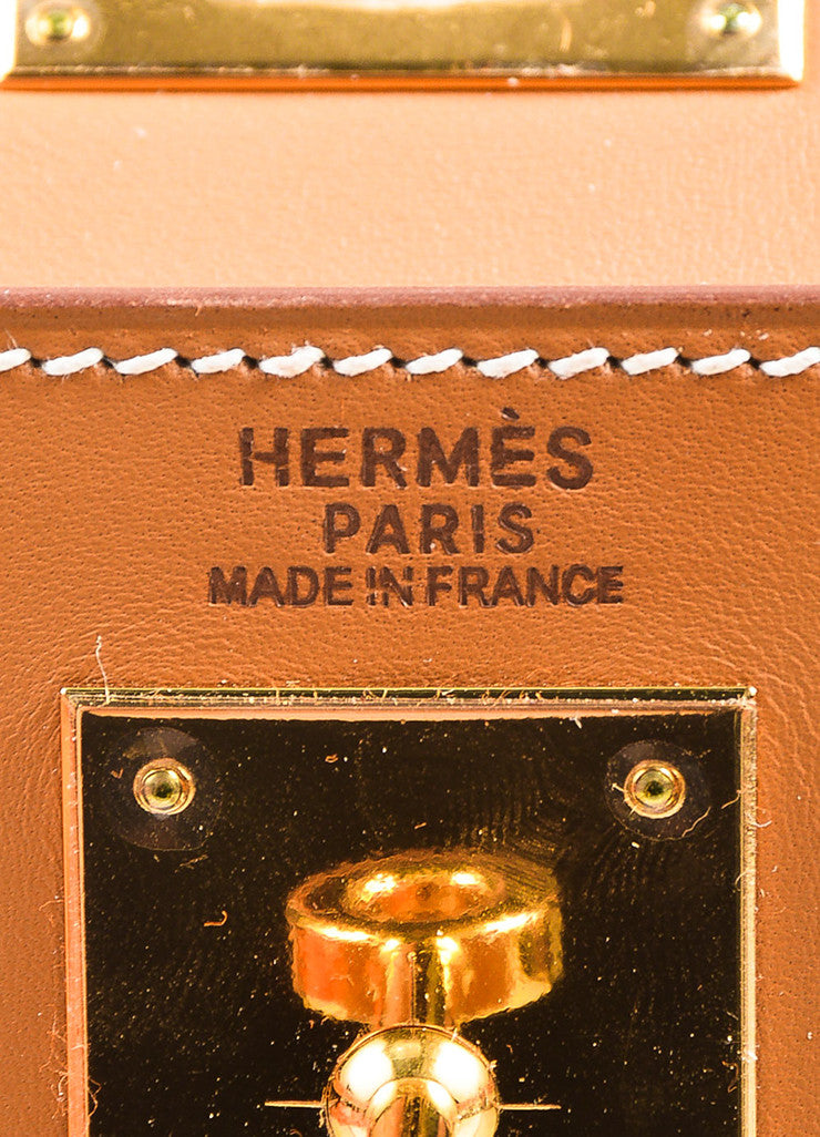 "Hermes Natural Tan Chamonix Leather Gold Toned Hardware ""Kelly 32cm"" Bag Brand"