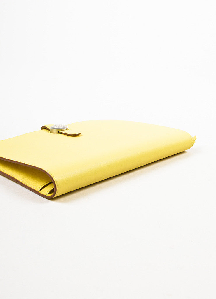 "Hermes Pale 'Soufre' Yellow Swift Leather Palladium Hardware ""Dogon Duo"" Wallet Sideview"